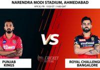 Royal Challengers Bangalore vs Punjab Kings IPL T20 Match Prediction